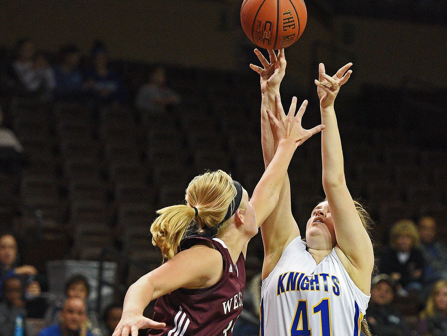 O'Gorman's Courtney Baruth (41) takes a shot during a game against Western Christian during the Edith Sanford Breast Center Girls Pentagon Classic Saturday, Dec. 17, 2016, at the Sanford Pentagon in Sioux Falls.