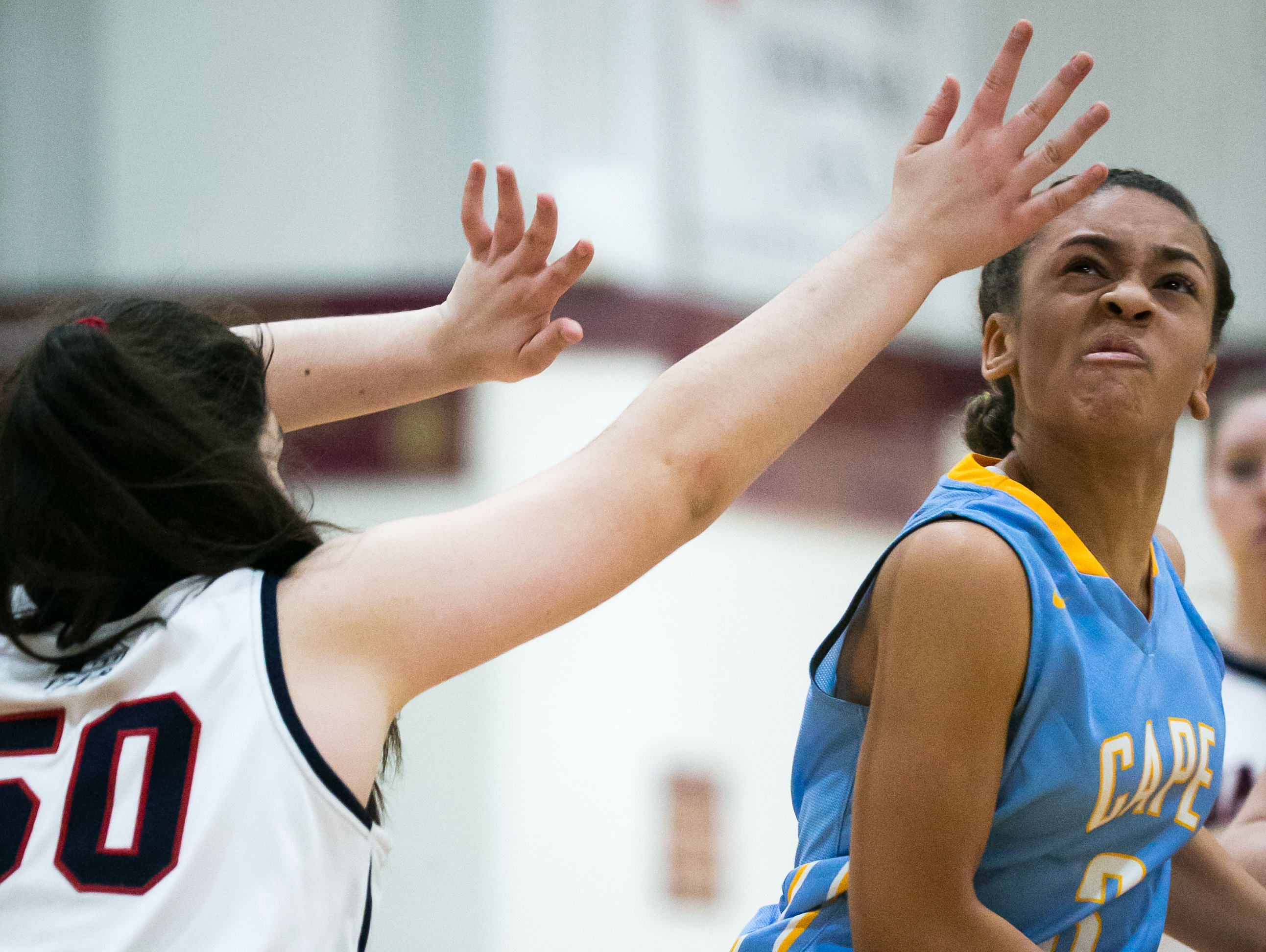 Cape Henlopen guard Dania Cannon (right) drives around Wilmington Friends' Natalie DePaulo and sinks the basket for two.