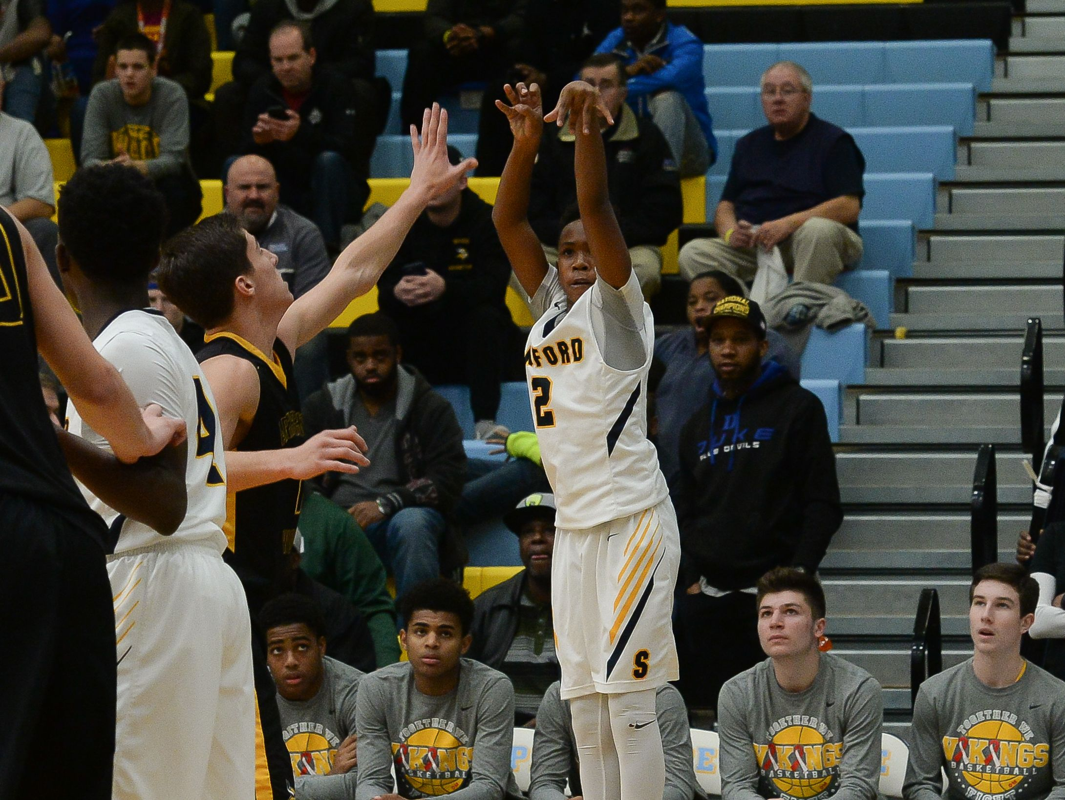 Sanford School's Corey Perkins with the jumper against Archbishop Wood during the Slam Dunk to the Beach on Wednesday, Dec 28, 2016. Final Score Sanford School- 47 ,Archbishop Wood- 72