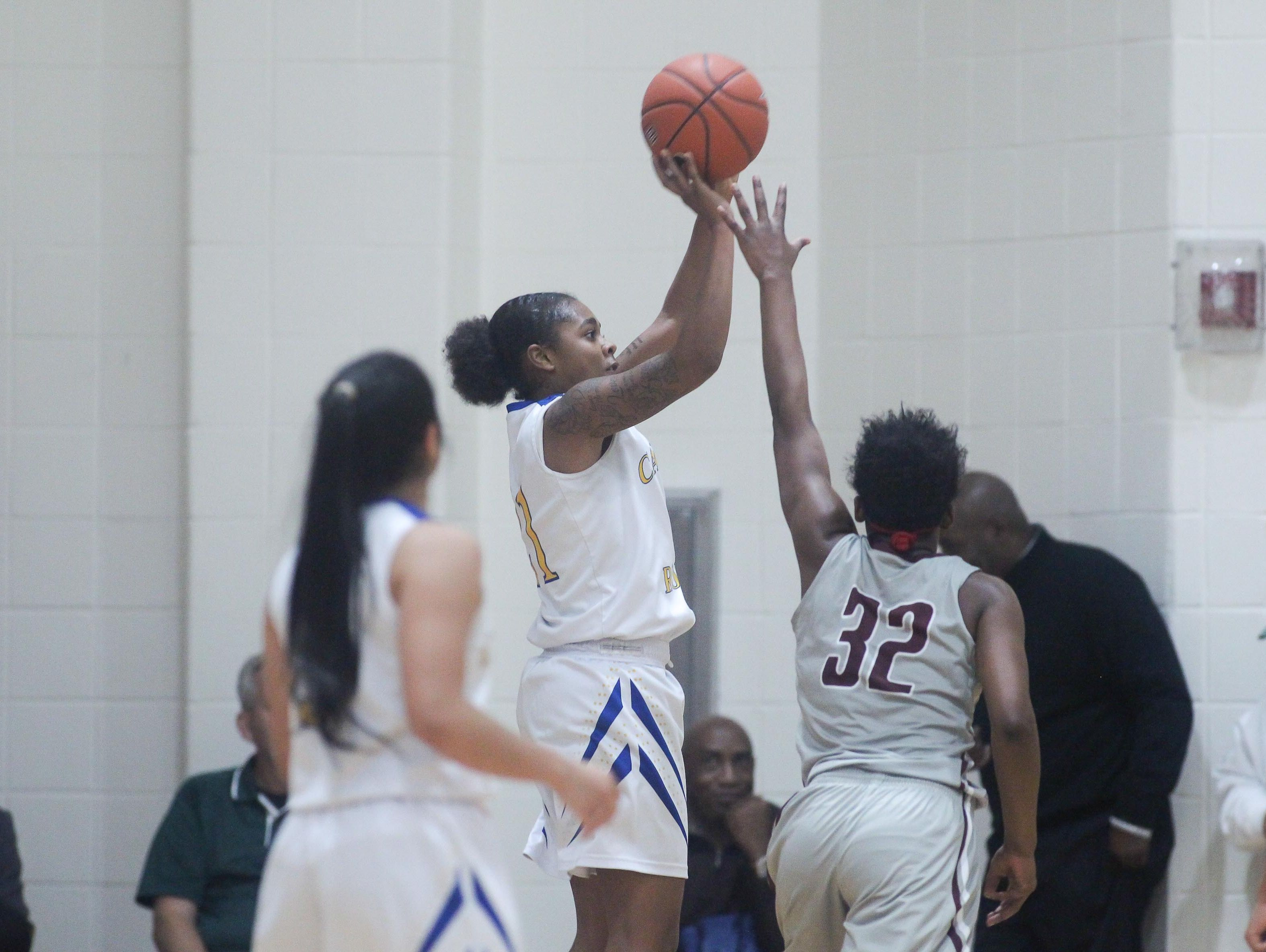 Caesar Rodney Alissa Haith (21) attempts a outside jump shot during a Diamond State Classic game Wed. Dec. 28, 2016 at Saint Elizabeth's High School in Wilmington.
