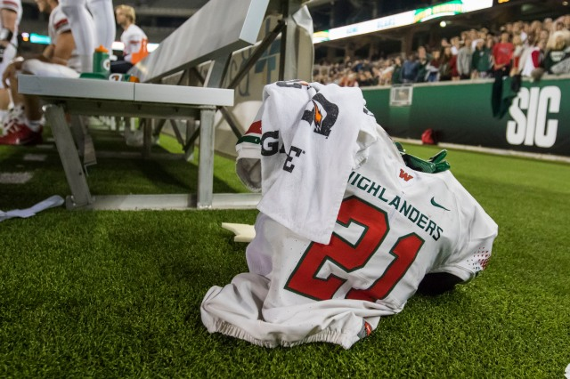 In this Nov. 26, 2016, photo, The Woodlands linebacker Grant Milton (21) is shown during a Class 6A Division I regional semifinal game in Waco, Texas. School officials say Milton is in intensive care after suffering an injury during a playoff game. Conroe Independent School District spokeswoman Sarah Blakelock said in a statement Monday that Grant Milton was injured during the regional football playoff game Saturday. (Jason Fochtman/Houston Chronicle via AP) ORG XMIT: TXHOU203