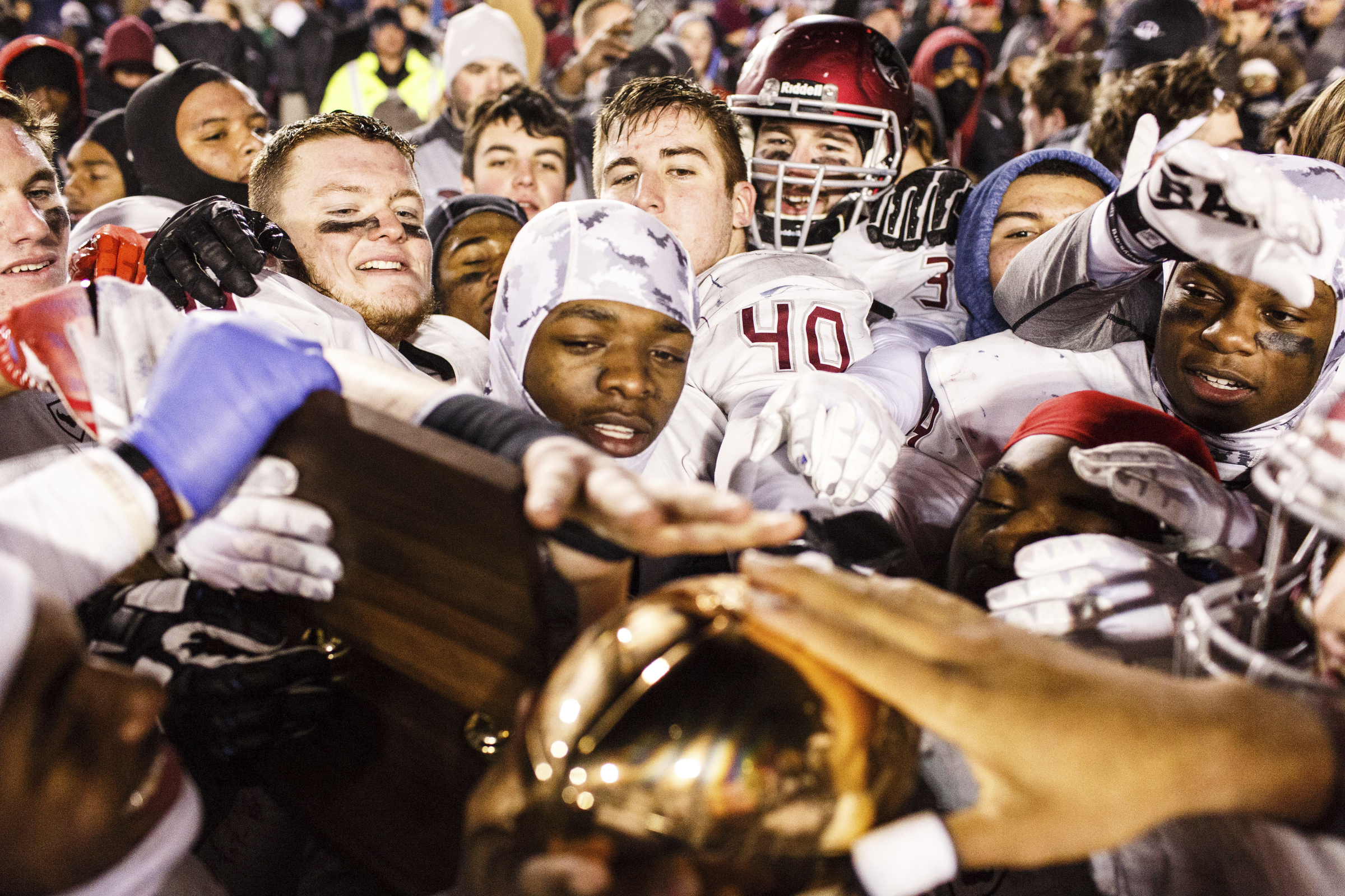 St. Joseph's Prep celebrates after defeating Central Catholic in the PIAA Class 6A state championship game Saturday, Dec. 10, 2016, in Hershey, Pa. (James Robinson/PennLive.com via AP) ORG XMIT: PAHAP307