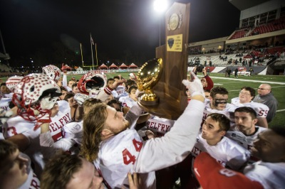 Belfry football players celebrate after a 52-31 victory over Louisville's Central High School to claim the Class 3A State Championship. Dec. 3, 2016