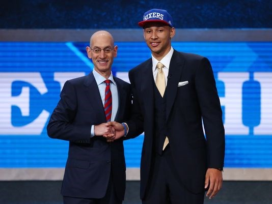 2016's No. 1 overall pick Ben Simmons shakes hands with NBA commissioner Adam Silver. (Photo: USA Today Sports)