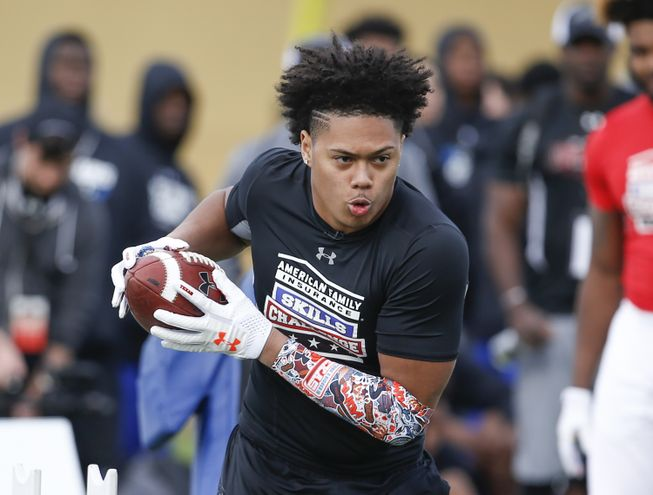 Linebacker Anthony Hines III who has committed to Texas A&M participates in the 2017 Under Armour All-America High School Football skills Challenge. (Photo: Reinhold Matay USA TODAY Sports Images).