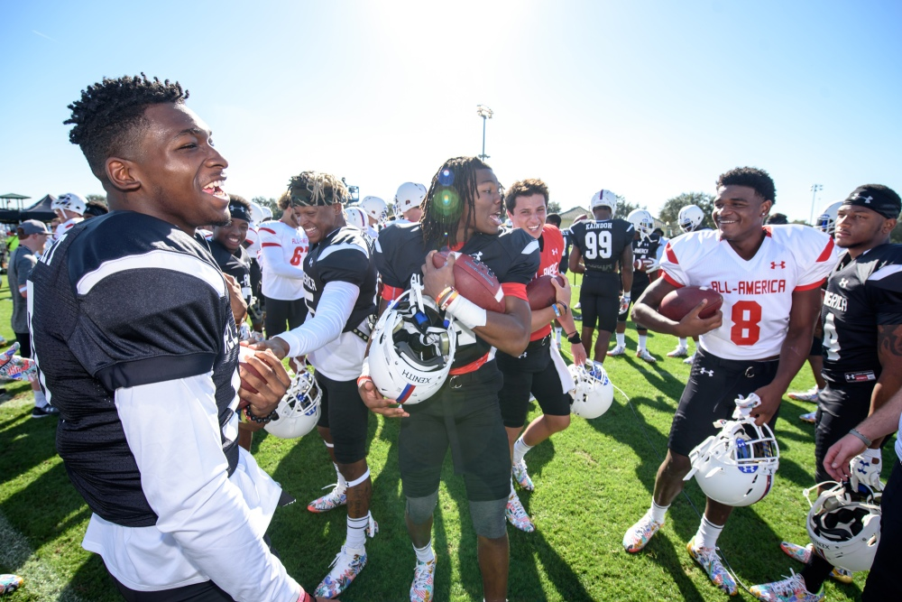 Trash talk is pretty good natured at the Under Armour All-America Game practices, but the consensus is that DeAngelo Gibbs (8) is the best talker. (Photo: Jim Halley, USA TODAY Sports).