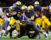 Dec 23, 2016 -- Frisco, TX, U.S.A -- GEICO State Champions Bowl Series. -- St. Thomas Aquinas Raiders wide receiver Jonathan Moore (6) is tackled by Bingham Miners Brigham Tuatagaloa (51) during the first half. Photo by Ray Carlin-USA TODAY Sports Images, Gannett ORG XMIT: US 135851 GEICO preps 12/23/201 [Via MerlinFTP Drop]