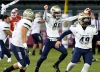 December 3, 2016 -- Anaheim, CA, U.S.A. St. John Bosco Braves James Duchesne (88) and Joseph Palombi (49)  celebrates after winning the California Southern Section final against the Mater Dei Monarchs at Anaheim Stadium. St. John Bosco won 42-28. Photo by Jayne Kamin-Oncea/USA TODAY Sports Images ORG XMIT:  US 135805 Cali southern fi 12/3/2016 [Via MerlinFTP Drop]