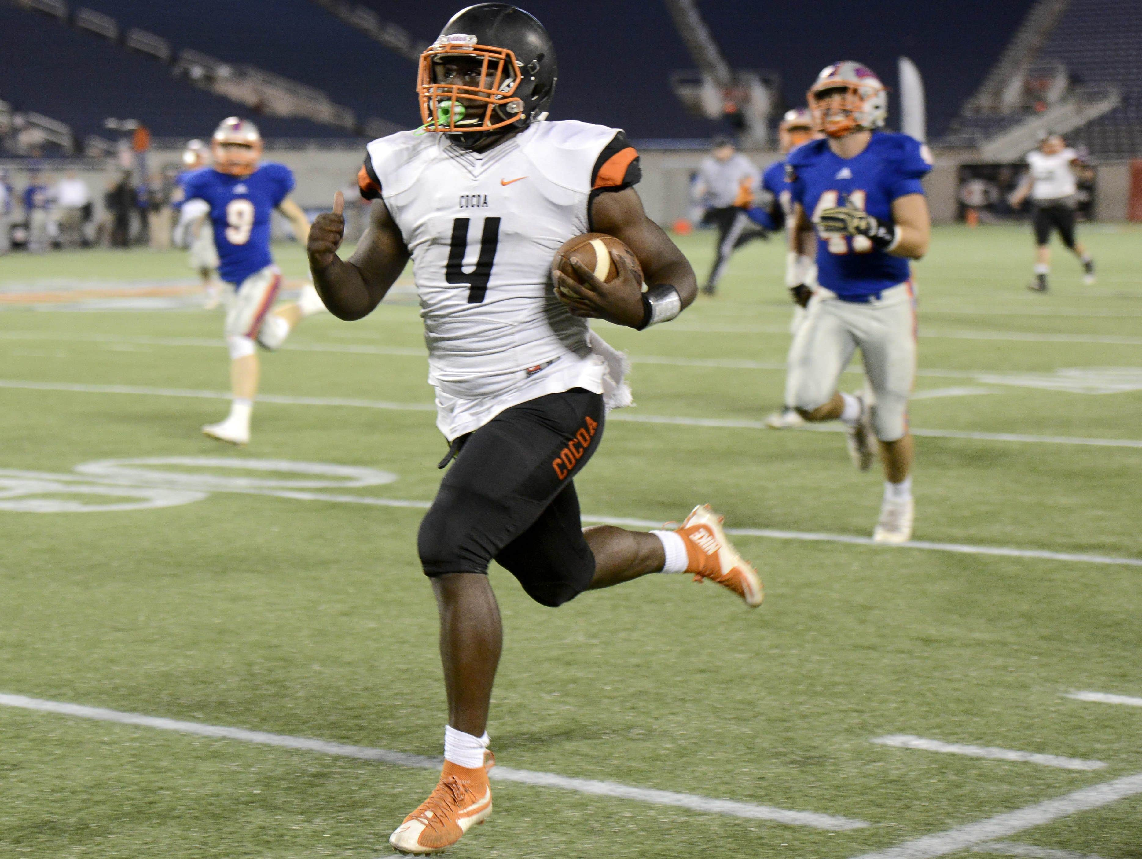 Bruce Judson of Cocoa goes 75 yards for a TD during the 2016 Class 4A championship game in Orlando.