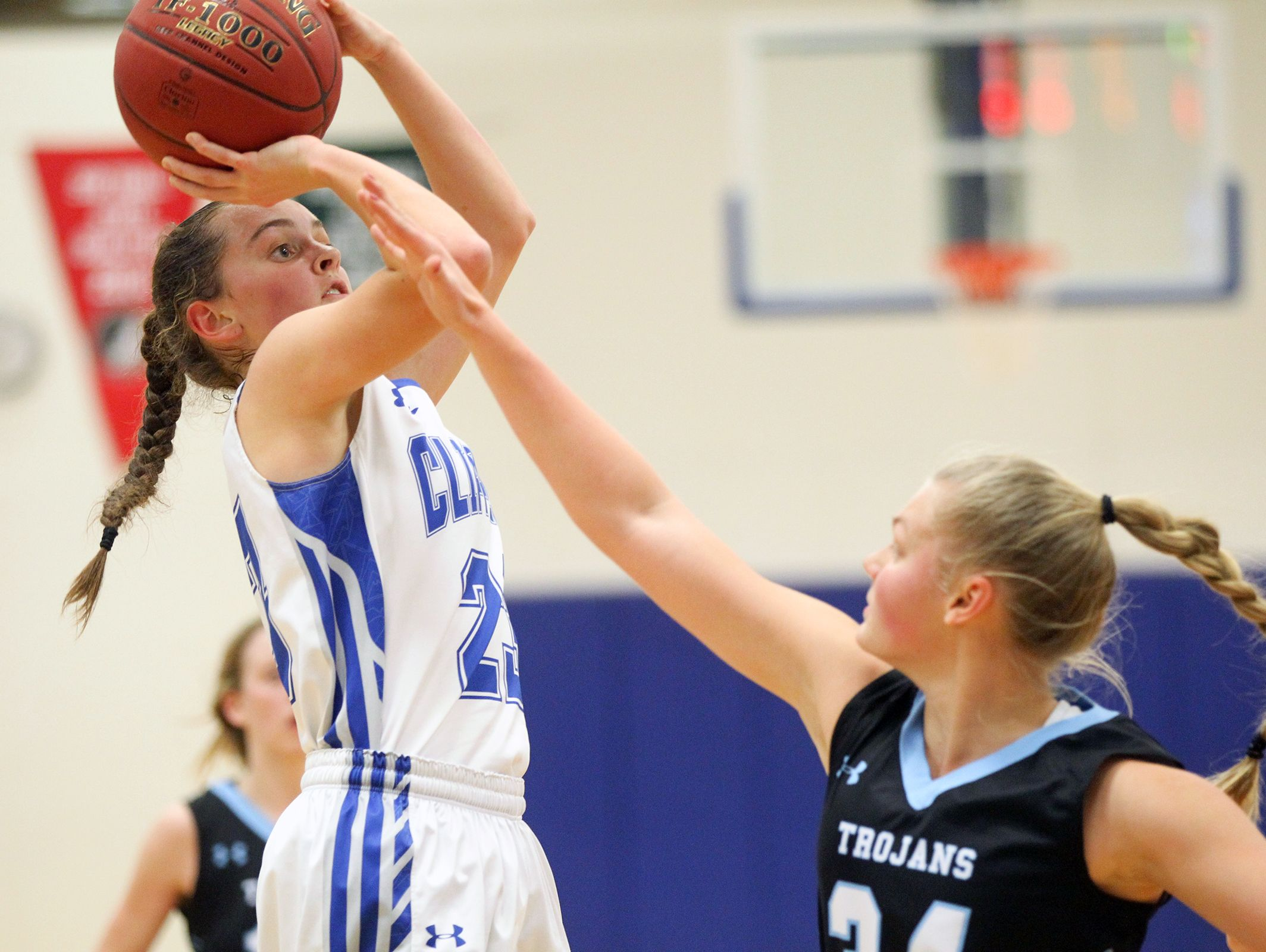 Clear Creek Amana's Karsyn Stratton takes a shot during the Clippers' game against South Tama in Tiffin on Monday, Dec. 19, 2016.