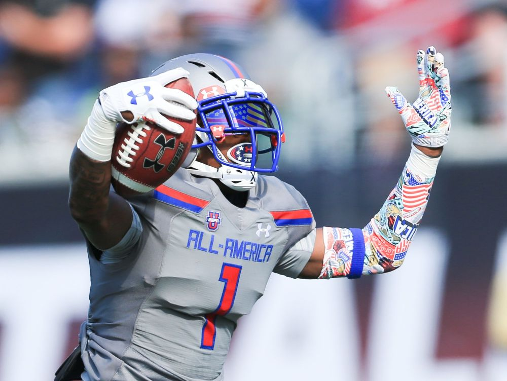 Team Armour wide receiver Jeff Thomas (01) celebrates after scoring a touchdown during the 2017 Under Armour All-America High School Football game. Team Armour defeated Team Highlight 24-21.