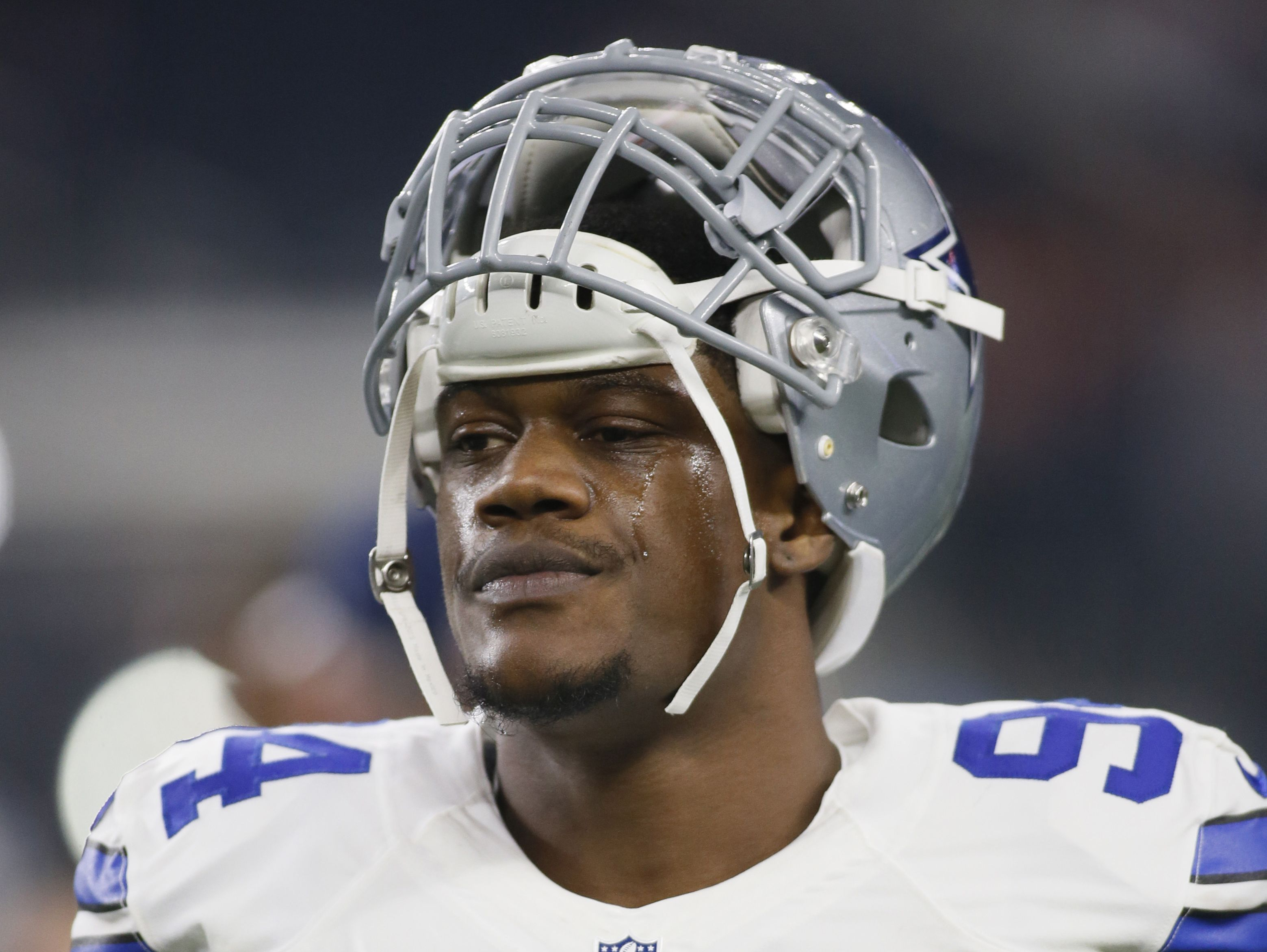 Dallas Cowboys defensive end Randy Gregory (94) on the field before the game against the Detroit Lions at AT&T Stadium.