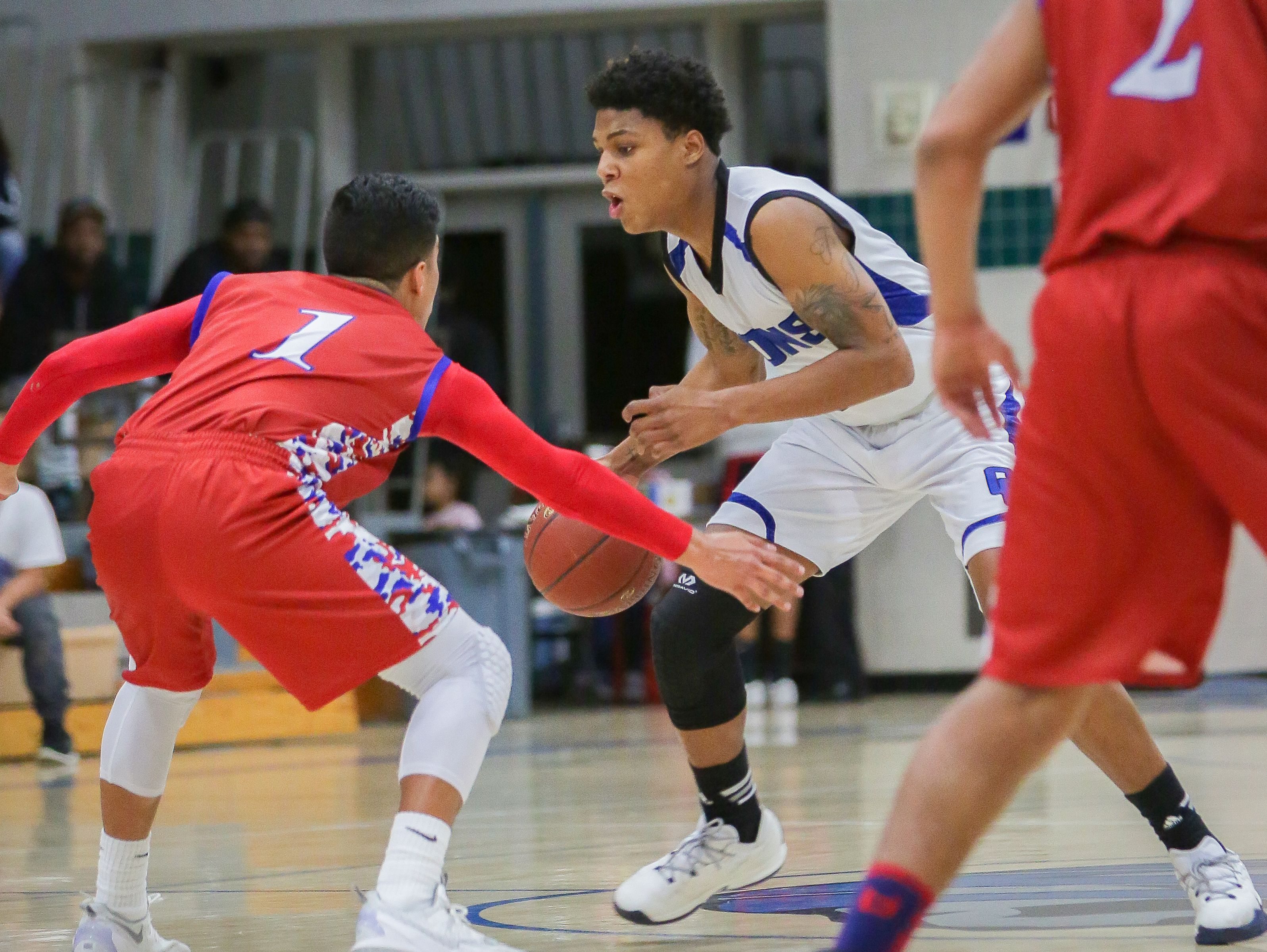 Kavonte Kinney trying to get past the Indio defense, Friday, Jan. 7, 2017. The Rajahs won Friday's game against Cathedral City 66-61.
