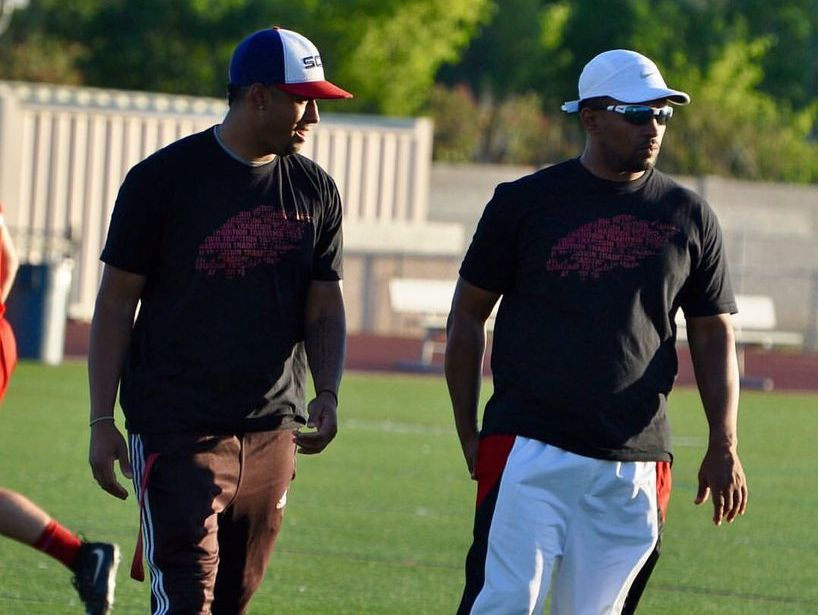 Airabin Justin (right), who works as a defensive backs coach at various high schools in the Valley, finally gets a chance to lead his own football program.