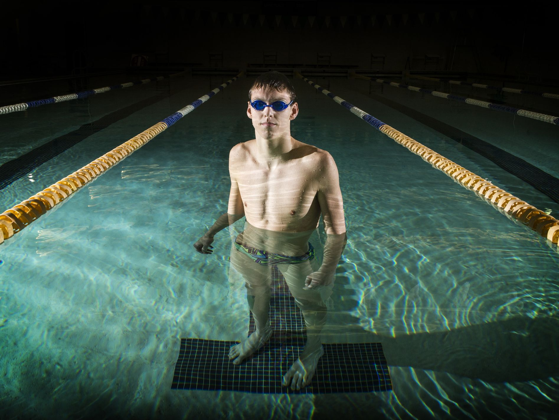 Mount Pleasant High School swimmer Bryce Cieko poses for a portrait in the swimming pool at P.S. du Pont Middle School in Wilmington on Wednesday afternoon.