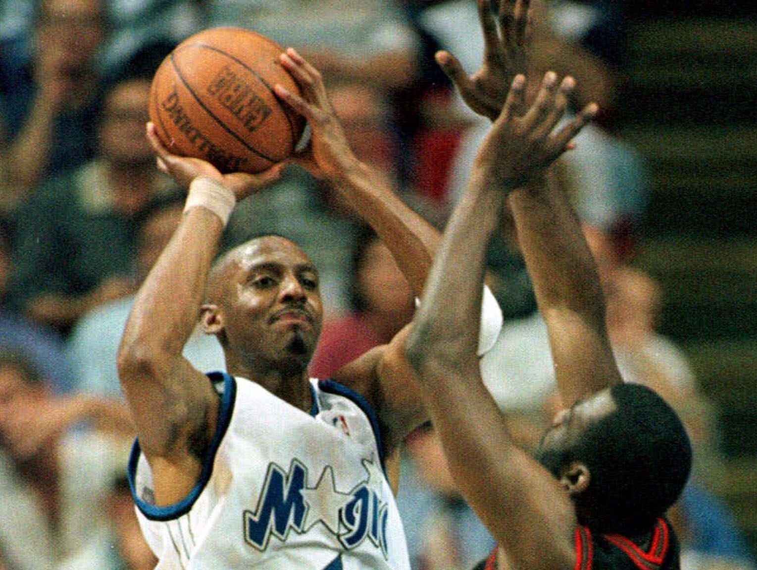 """Four-time NBA all-star Anfernee """"Penny"""" Hardaway, shown during his playing days with the Orlando Magic, is in Springfield Jan. 12-14 coaching Memphis East High School in the 2017 Bass Pro Tournament of Champions"""