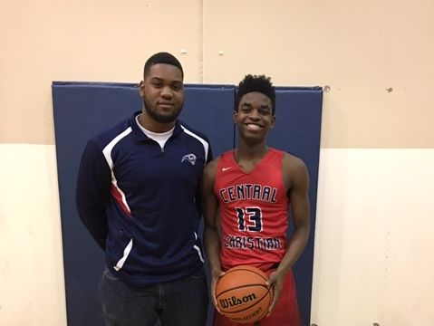 Michael Roberson (right) stands with former Central Christian Academy school record-holder David Clanton after scoring 51 points in a game last week.