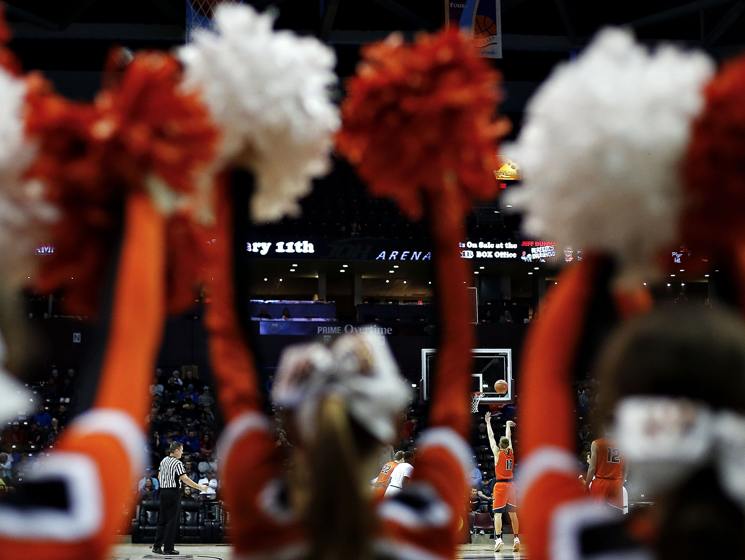 Republic High School guard Ty Stevens (11) shoots a free throw during second quarter action of the 2017 Bass Pro Tournament of Champions high school basketball game between the Madison Prep Academy Chargers (Baton Rouge, La.) and the Republic High School Tigers (Republic, Mo.) at JQH Arena in Springfield, Mo. on Jan. 13, 2017.