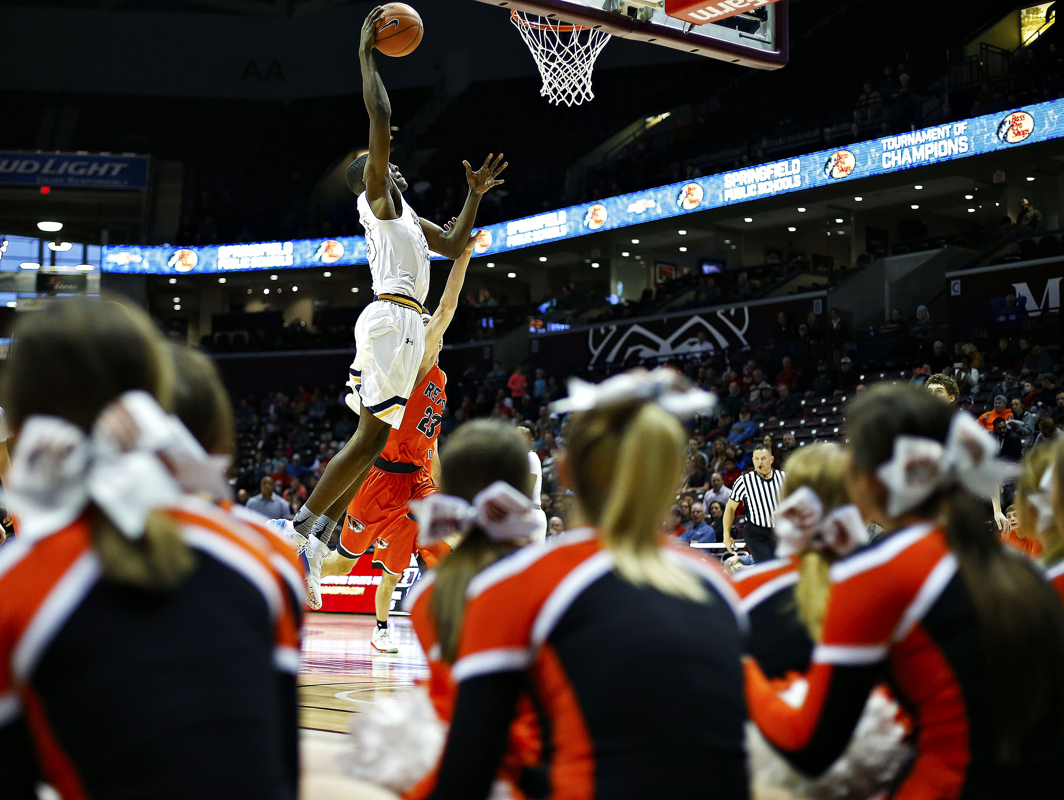 Madison Prep Academy (Baton Rouge, La.) forward Josh LeBlanc (23) dunks the ball during first quarter action of the 2017 Bass Pro Tournament of Champions high school basketball game between the Madison Prep Academy Chargers (Baton Rouge, La.) and the Republic High School Tigers (Republic, Mo.) at JQH Arena in Springfield, Mo. on Jan. 13, 2017.