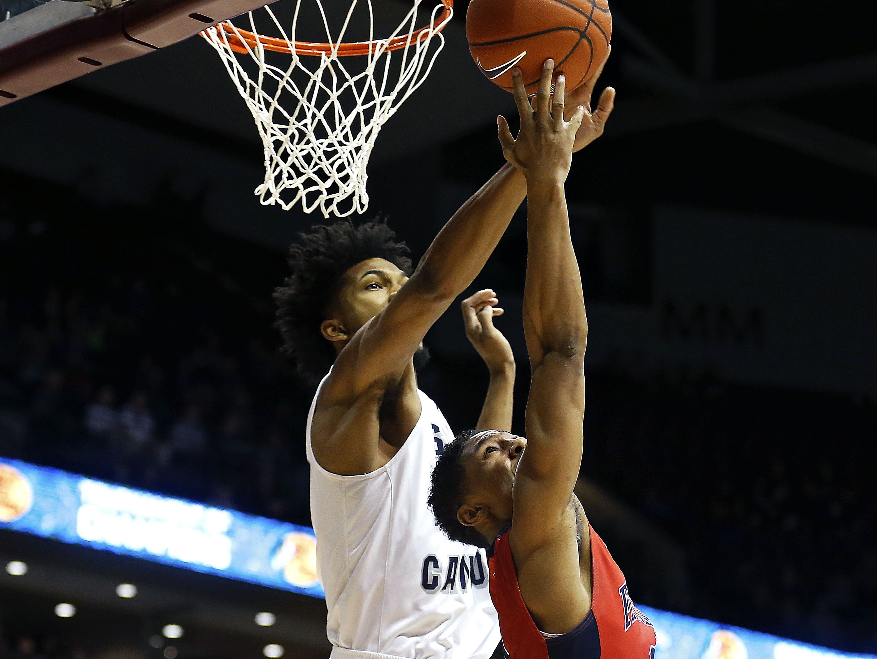 Sierra Canyon School forward Marvin Bagley III (35) blocks a shot by Findlay Prep guard Justin Roberts (0) during first quarter action of the 2017 Bass Pro Tournament of Champions high school basketball game between the Sierra Canyon School Blazers (Chatsworth, Calif.) and the Findlay Prep Pilots (Las Vegas, Nev.) at JQH Arena in Springfield, Mo. on Jan. 13, 2017.