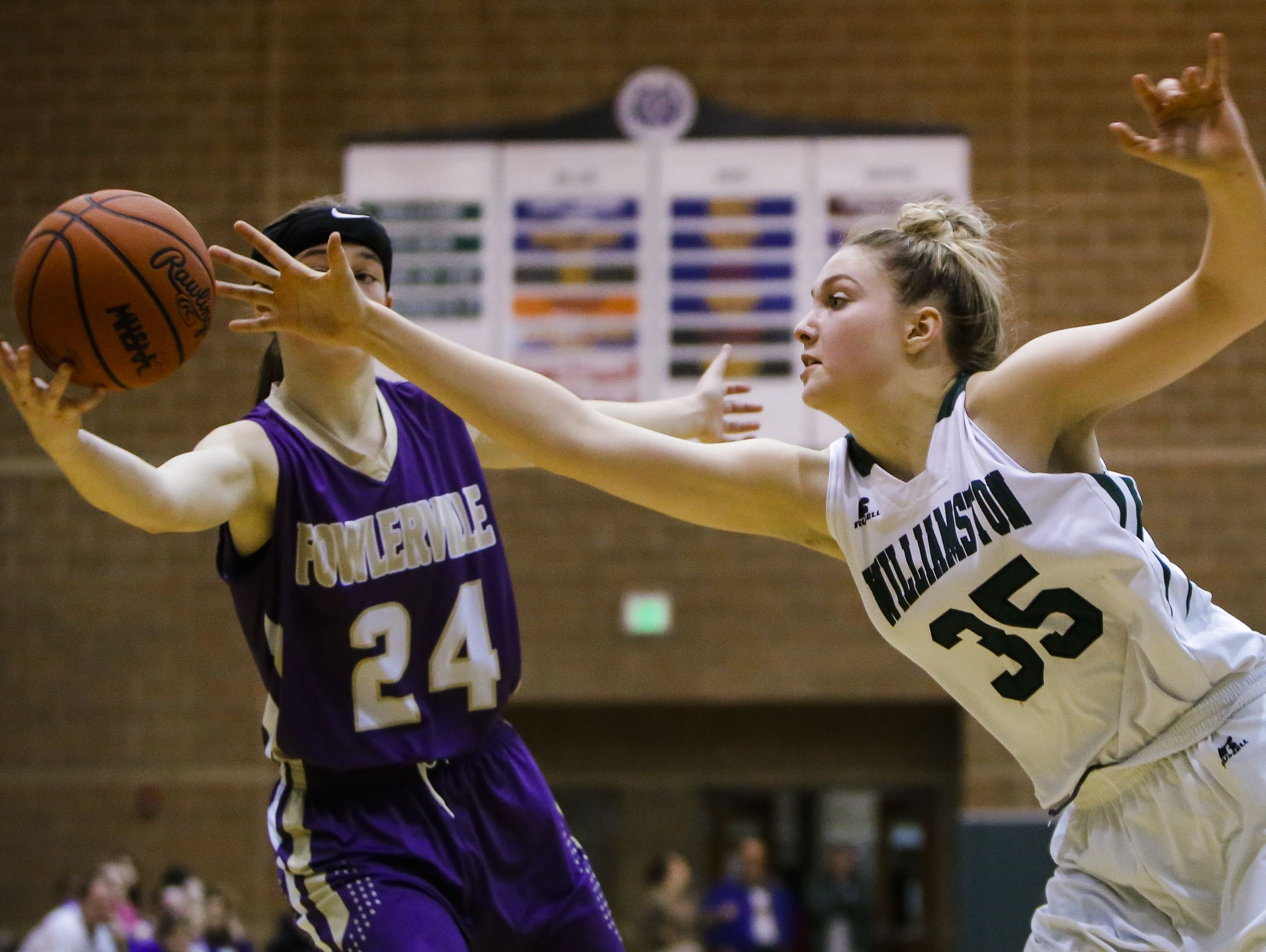 Fowlerville's Elie Smith and Williamston's Allison Peplowski battle for a loose ball Friday, Jan. 13, 2017 at Williamston. Williamston won 62-33.