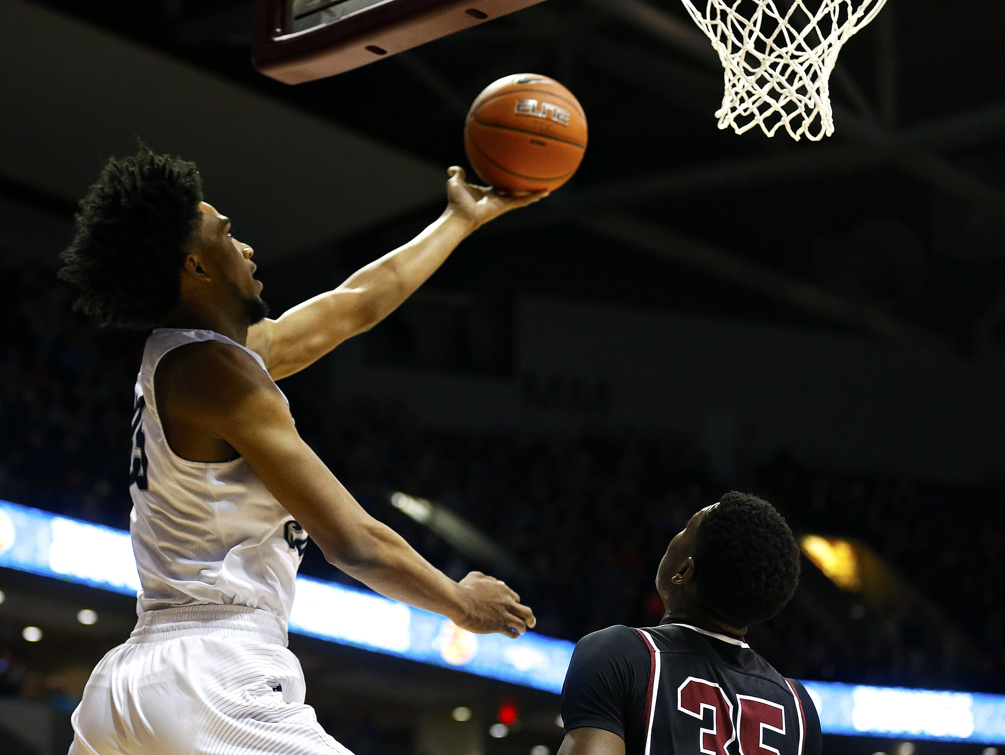 Sierra Canyon School (Chatsworth, Calif.) forward Marvin Bagley III (35) shoots a layup during first quarter action of the 2017 Bass Pro Tournament of Champions championship game between the Sierra Canyon School Trailblazers (Chatsworth, Calif.) and the Memphis East High School Mustangs (Memphis, Tenn.) at JQH Arena in Springfield, Mo. on Jan. 14, 2017.