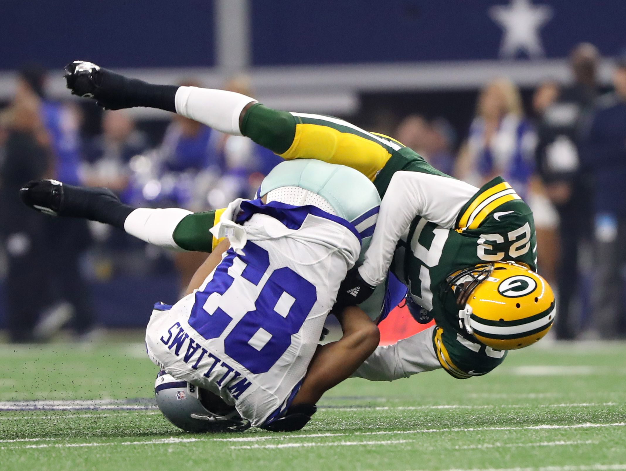 Green Bay Packers cornerback Damarious Randall (23) is one of nine former Arizona high school or college football players still in the NFL playoffs.