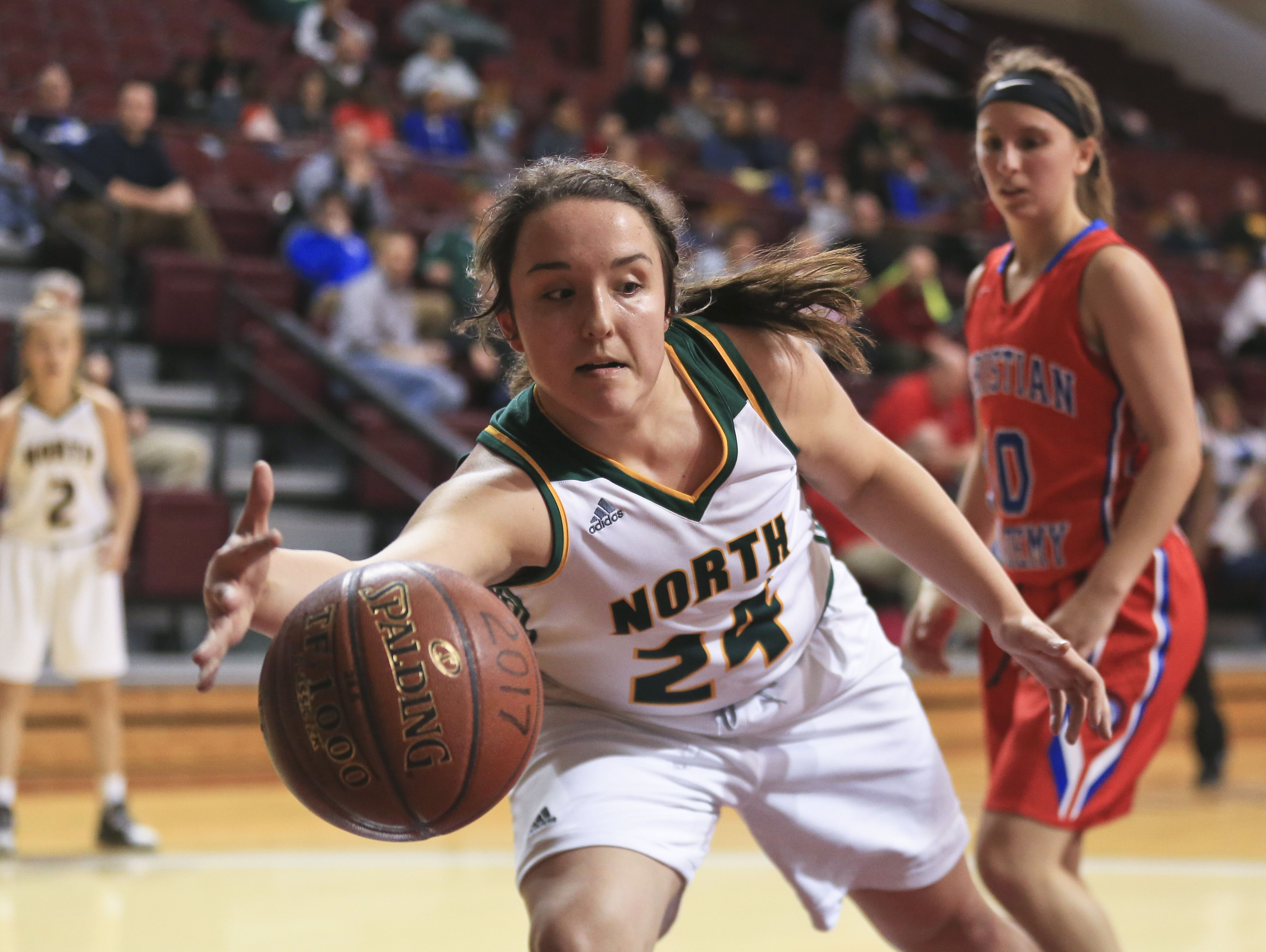 North Bullitt's Sarah Janes tries to save the ball from out-of-bounds during the first game of the Girls' LIT at Bellarmine University Tuesday afternoon.