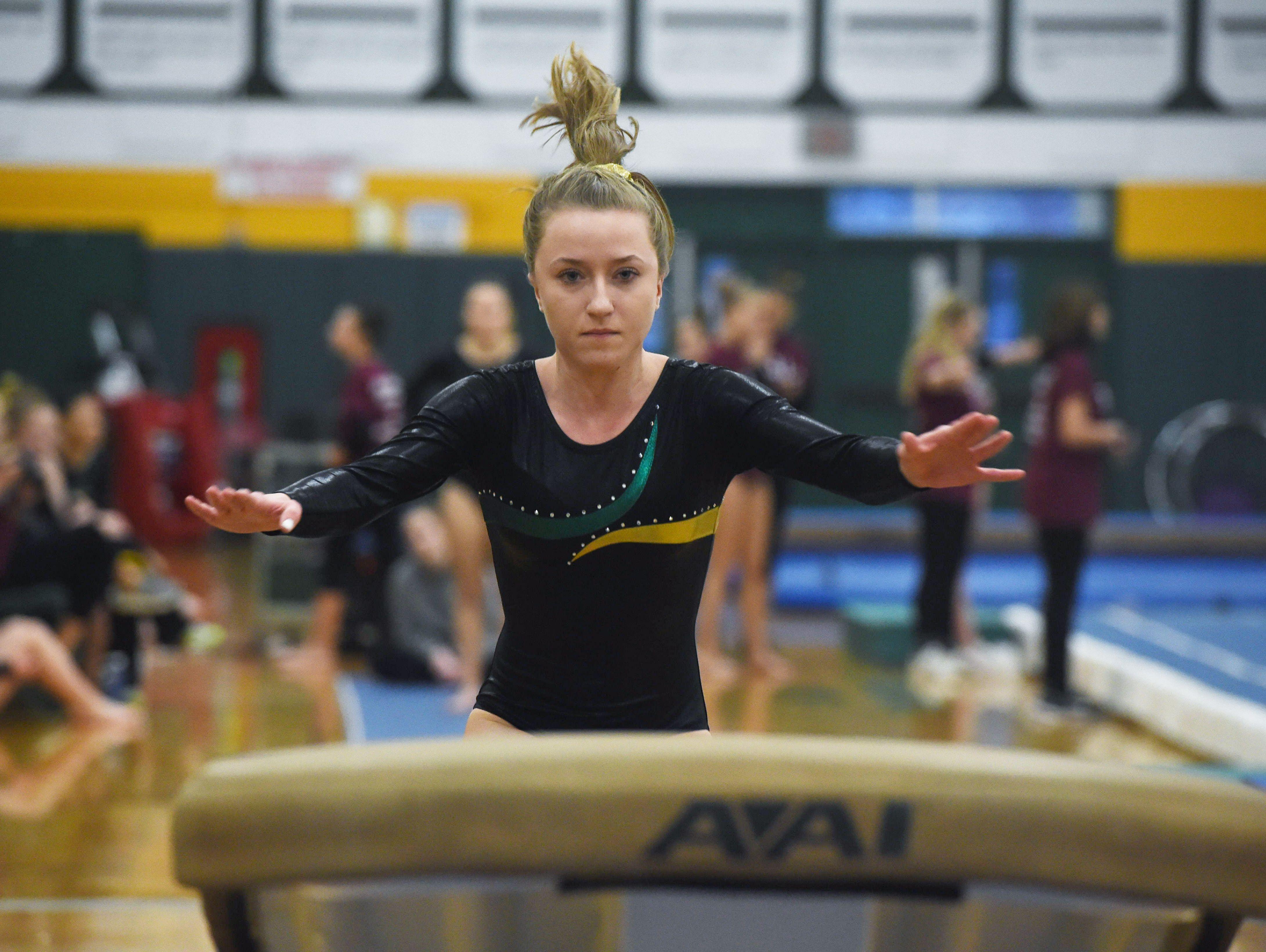FDR's Kaelin Grant vaults during the Katie Filiberti Memorial Gymnastics Invitational at FDR High School.