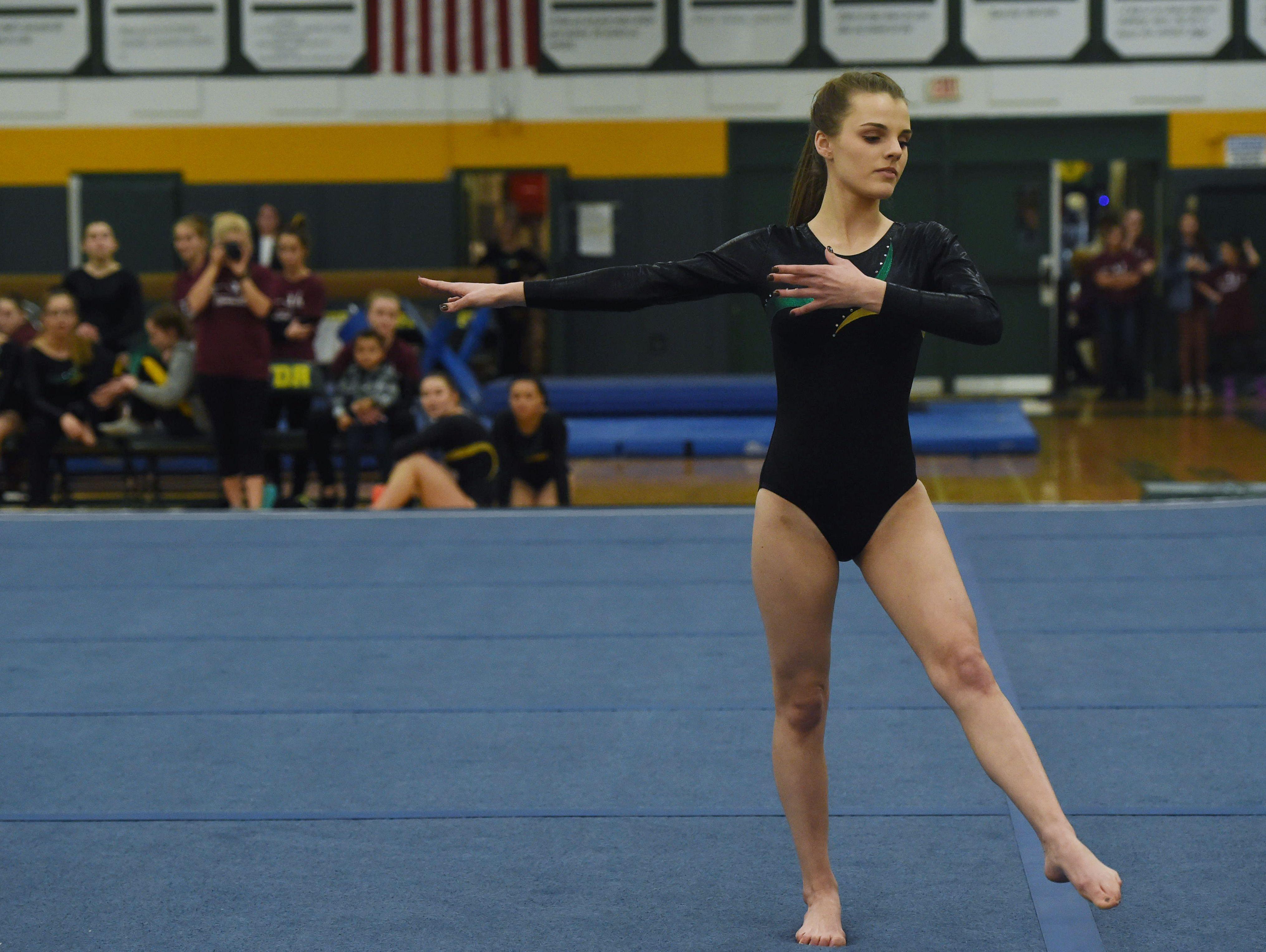 FDR's Nikki Filiberti performs her floor routine during the Katie Filiberti Memorial Gymnastics Invitational at FDR High School.