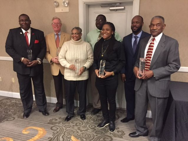 Delaware Basketball Hall of Fame inductees (L-R): Mike Wynn, Bruce Kelleher, Kelly Wickes, Mike Wynn (representing his father), Davineia Payne, Tail Davis and Don Haman.