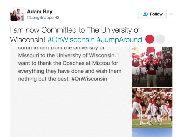 Adam Bay tweets his intentions to play for Wisconsin.