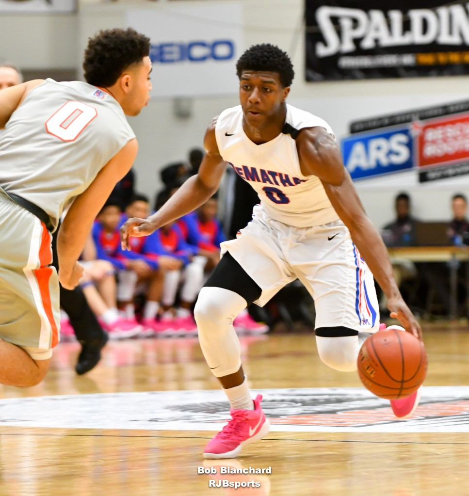 Ryan Allen and No. 13 DeMatha took a xx-xx win Saturday over Bishop Gorman in the Spalding Hoophall Classic. (Photo: Rob Blanchard/Naismith Memorial Basketball Hall of Fame).