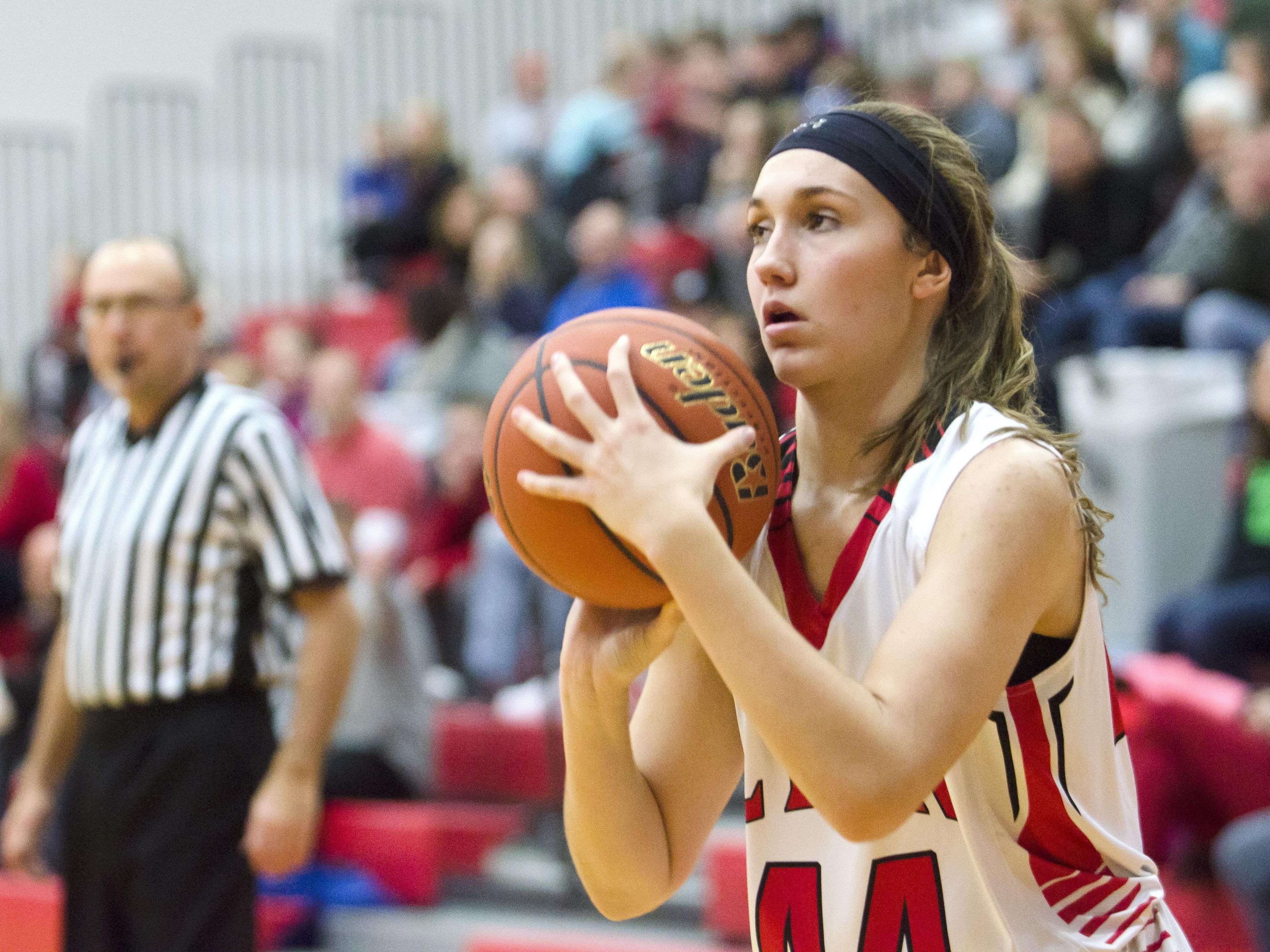 Trinity Law of Brandon Valley shoots from the perimeter Tuesday, Jan. 3, against Watertown at Brandon.