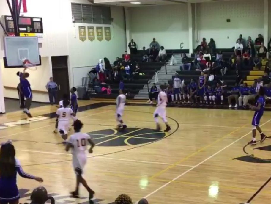 Isaiah Banks of Heritage High School in Georgia shattered a backboard during a game.