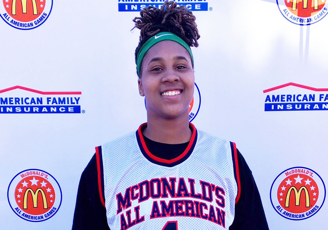 Ayanna Clark receives her honorary McDonald's All American jersey (Photo: McDAAG)