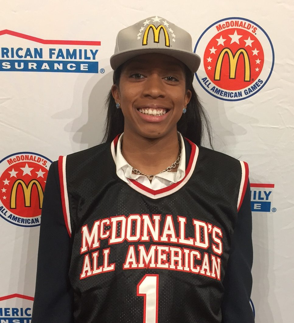 Mikayla Coombs shows off her McDonald's All American jersey and hat (Photo: McDonald's All American Game)