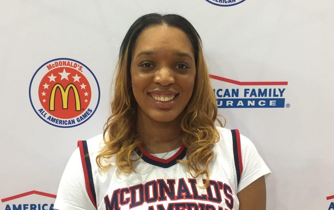 Kasiyahna Kushkituah shows off her McDonald's All American Game jersey (Photo: McDAAG)