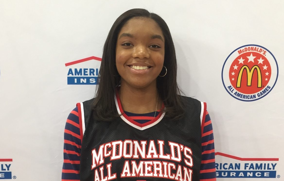 Maya Dodson with her McDonalds All American Game jersey Photo: MCDAAG)