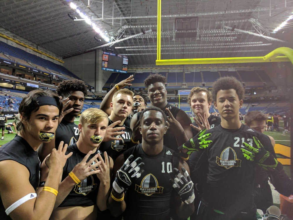 Mallard Creek (Charlotte, N.C.) defensive tackle (back row, center, No. 645), with some of his group members at the U.S. Army All-American Bowl Underclassman Combine. (Photo: Jim Halley, USA Today Sports).