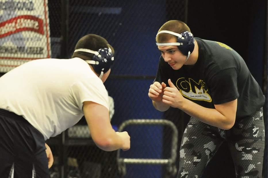 Ron D'amico practices against teammate Julian Scheibel. Photo Credit: Louis Raggiunti