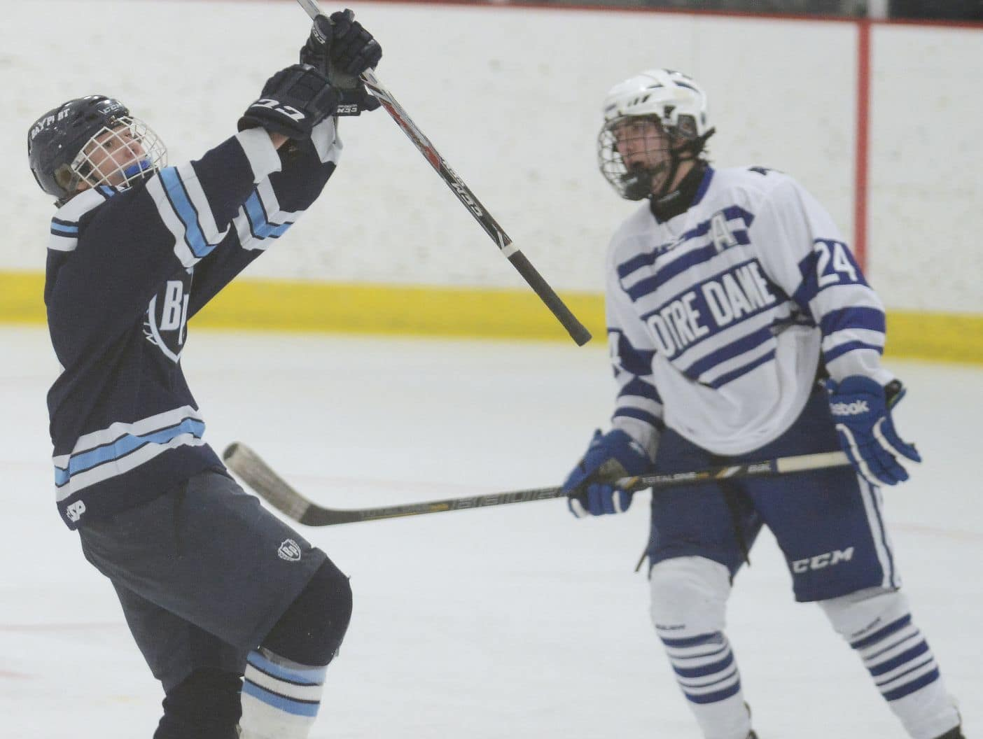 Bay Port's Austin Mikesch celebrates a game-winning goal against Green Bay Notre Dame in 2015. Mikesch surpassed 100 career points this season and earned Fox River Classic Conference player of the year honors.