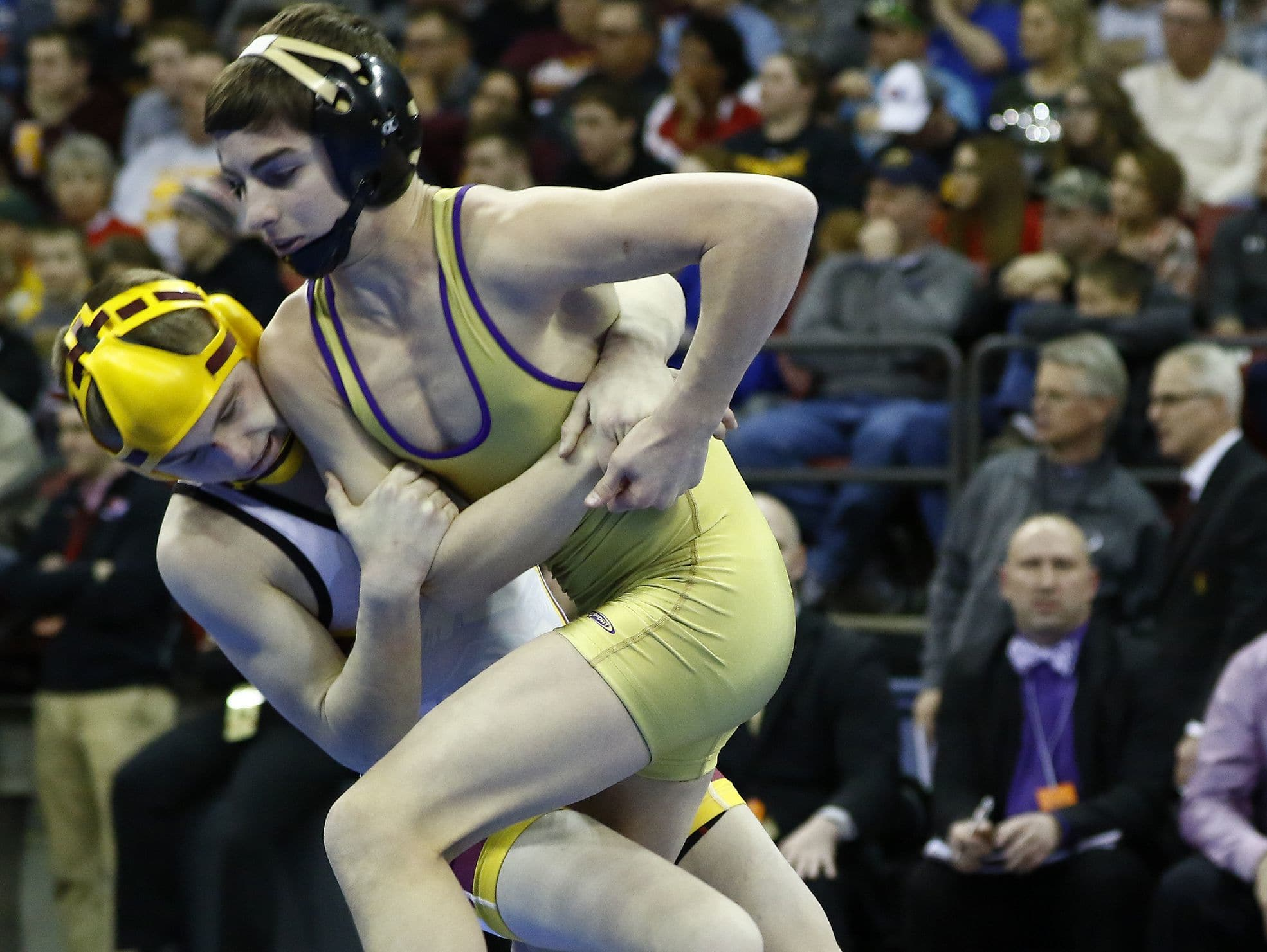 Two Rivers' Joey Bianchi, right, wrestles Luxemburg-Casco's Bryce Bosman during their WIAA Division 2 state championship match on Feb. 27, 2016, at the Kohl Center in Madison. The wrestlers met in the regional, sectional and state finals last year.