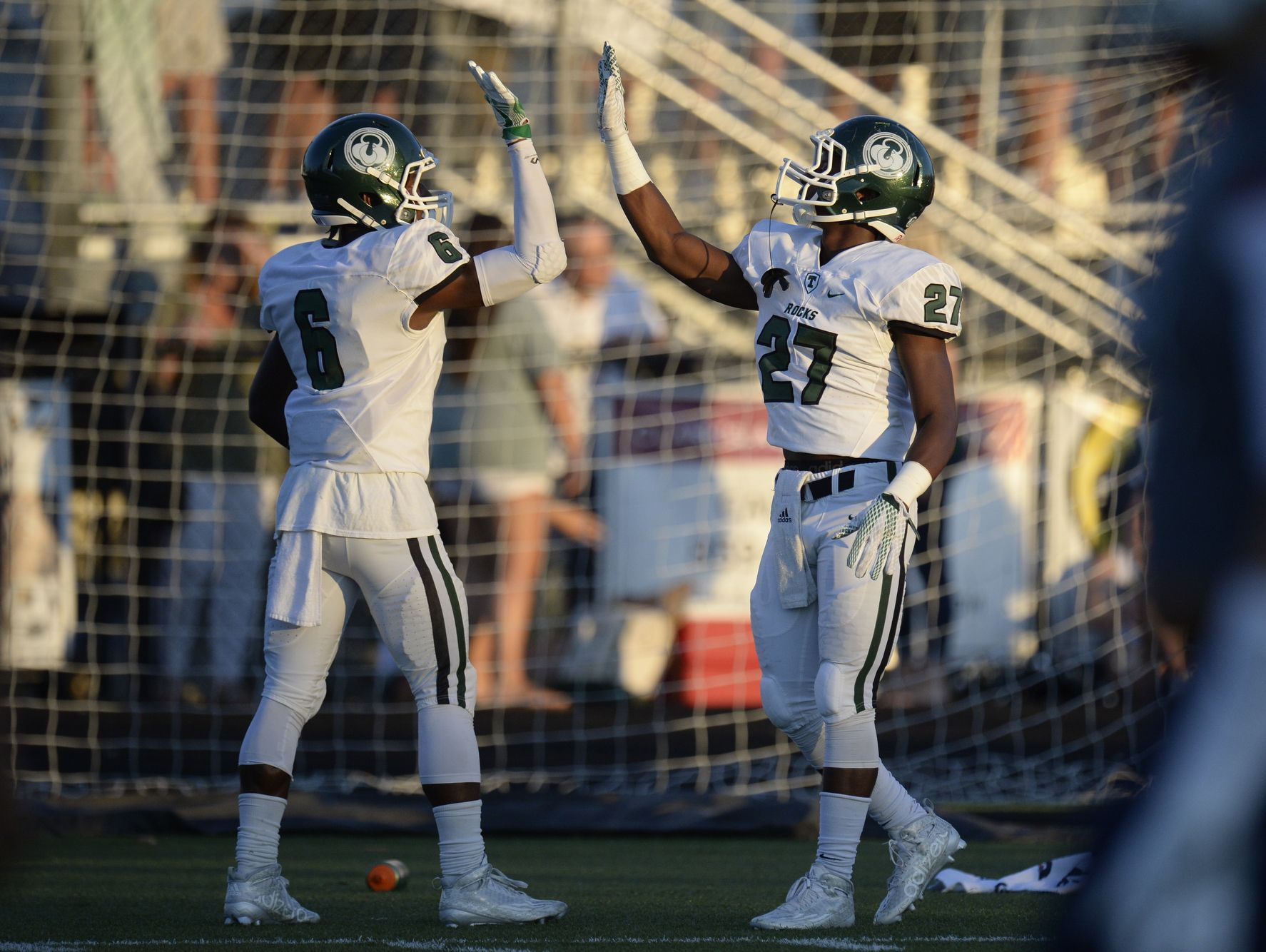 WR Jovel Smith celebrates with Jovan Smith during theTrinity football game against Lafayette in Lexington, KY on Friday, September 3, 2016.