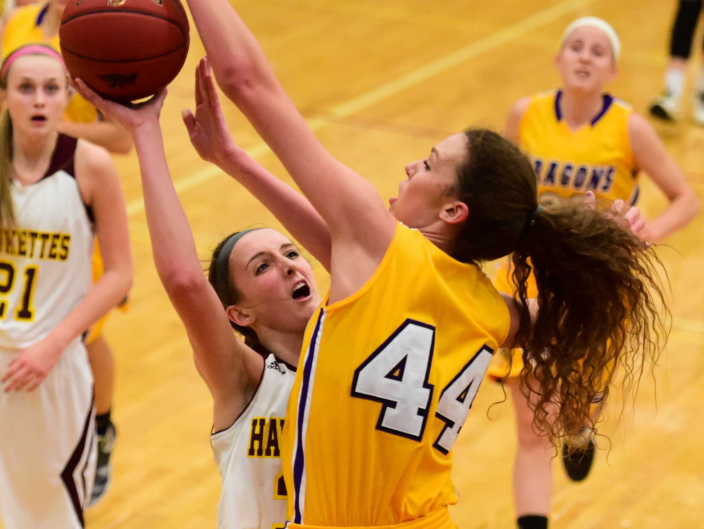 Ankeny's Sydney Shadravan (32) gets her shot blocked by Johnston's Taryn Knuth (44) on Tuesday, January 19, 2016, during a basketball game at Ankeny High School between the Johnston Dragons and the Ankeny Hawks.