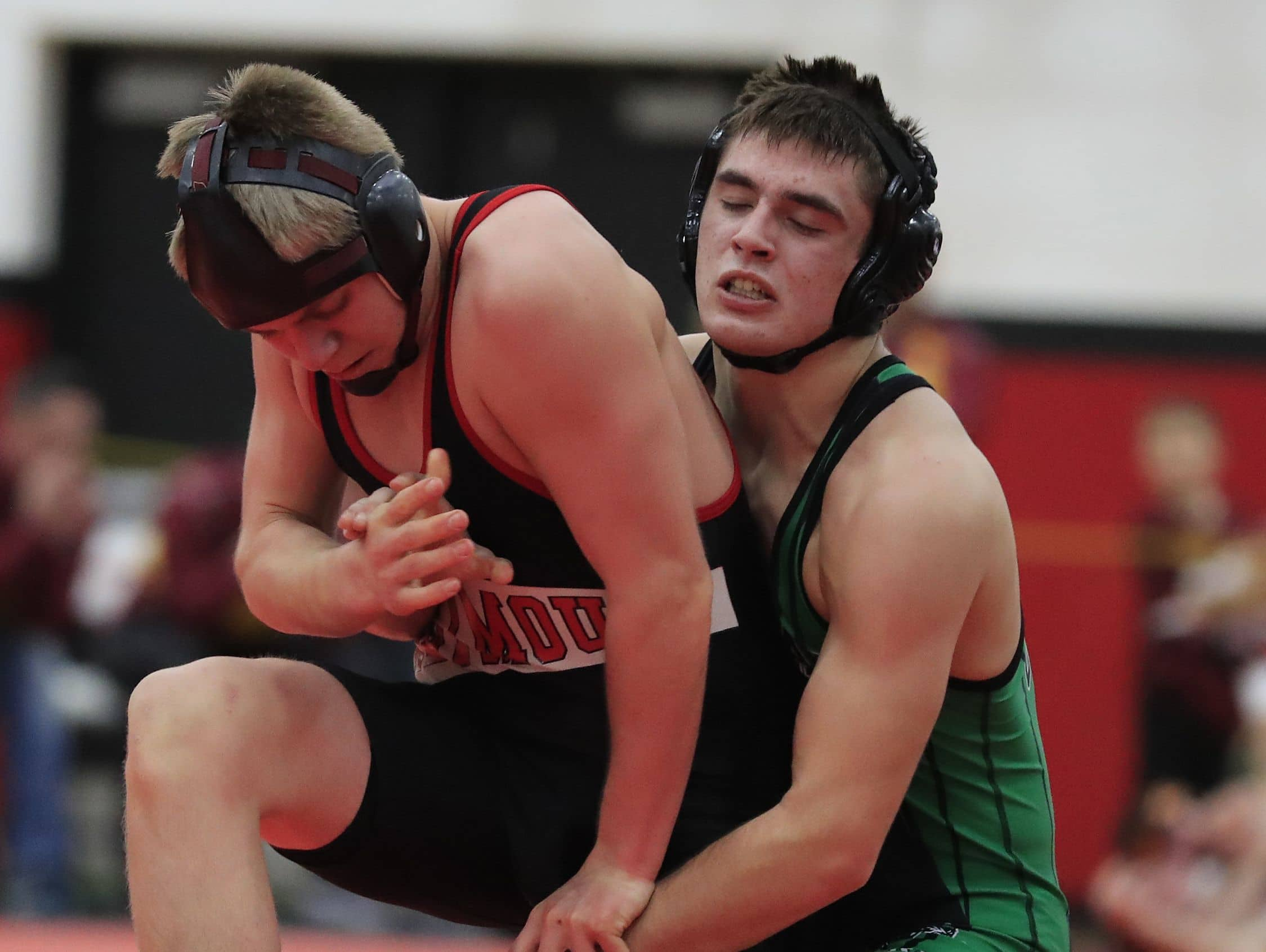 Coleman's Bryce Karban wrestles Seymour's Thomas Peters in the 145-pound 5th place bout at the Pulaski Invite on Jan. 28. Coleman is ranked No. 2 in Division 3 by WIWrestling.com and could potential face top-ranked Stratford in the sectional semifinals.