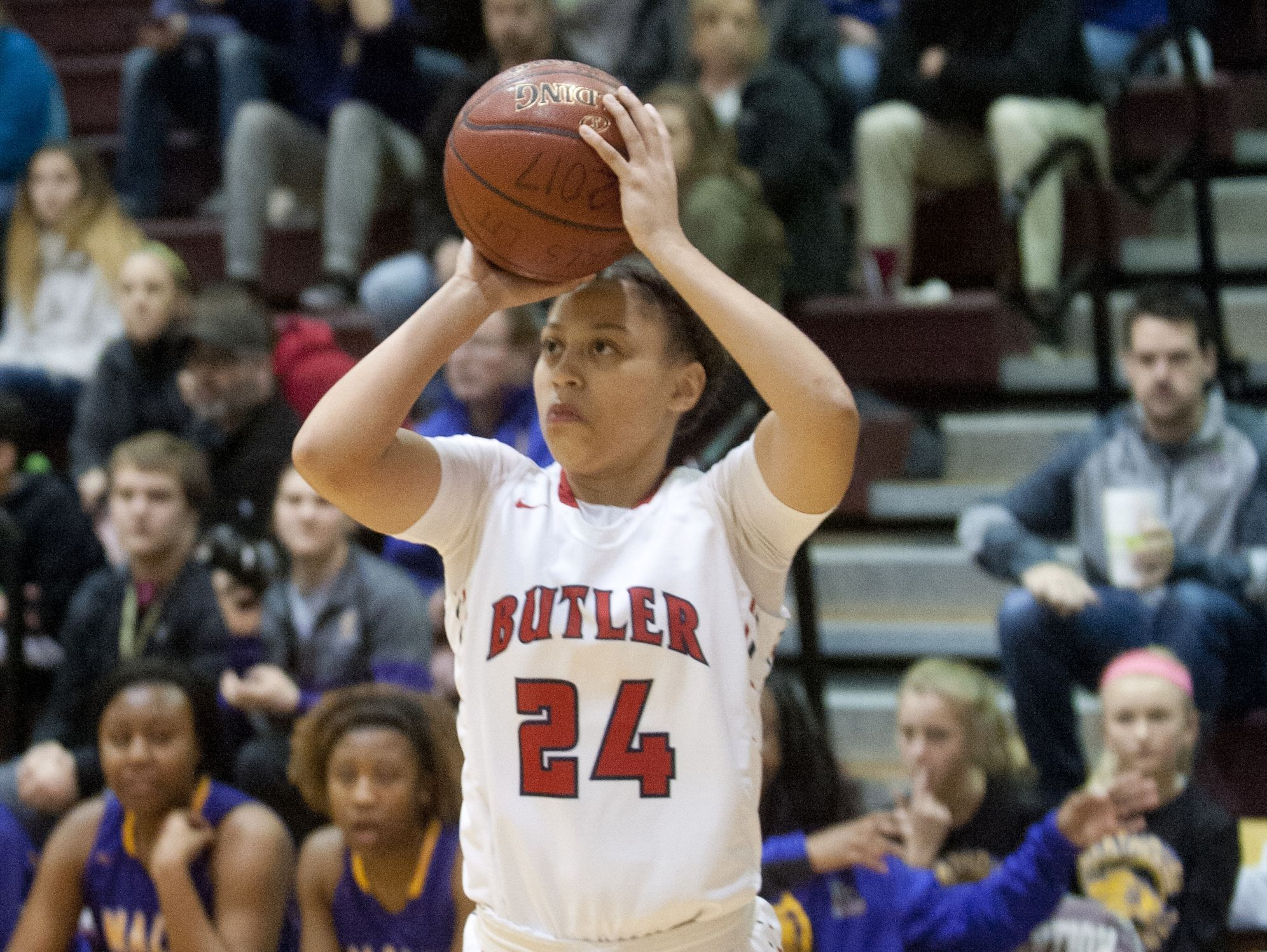 Butler guard Teri Goodlett puts up a 3-point shot in the Girls' LIT championship. She had the team's second-hightest score with 21 points. 28 January 2017