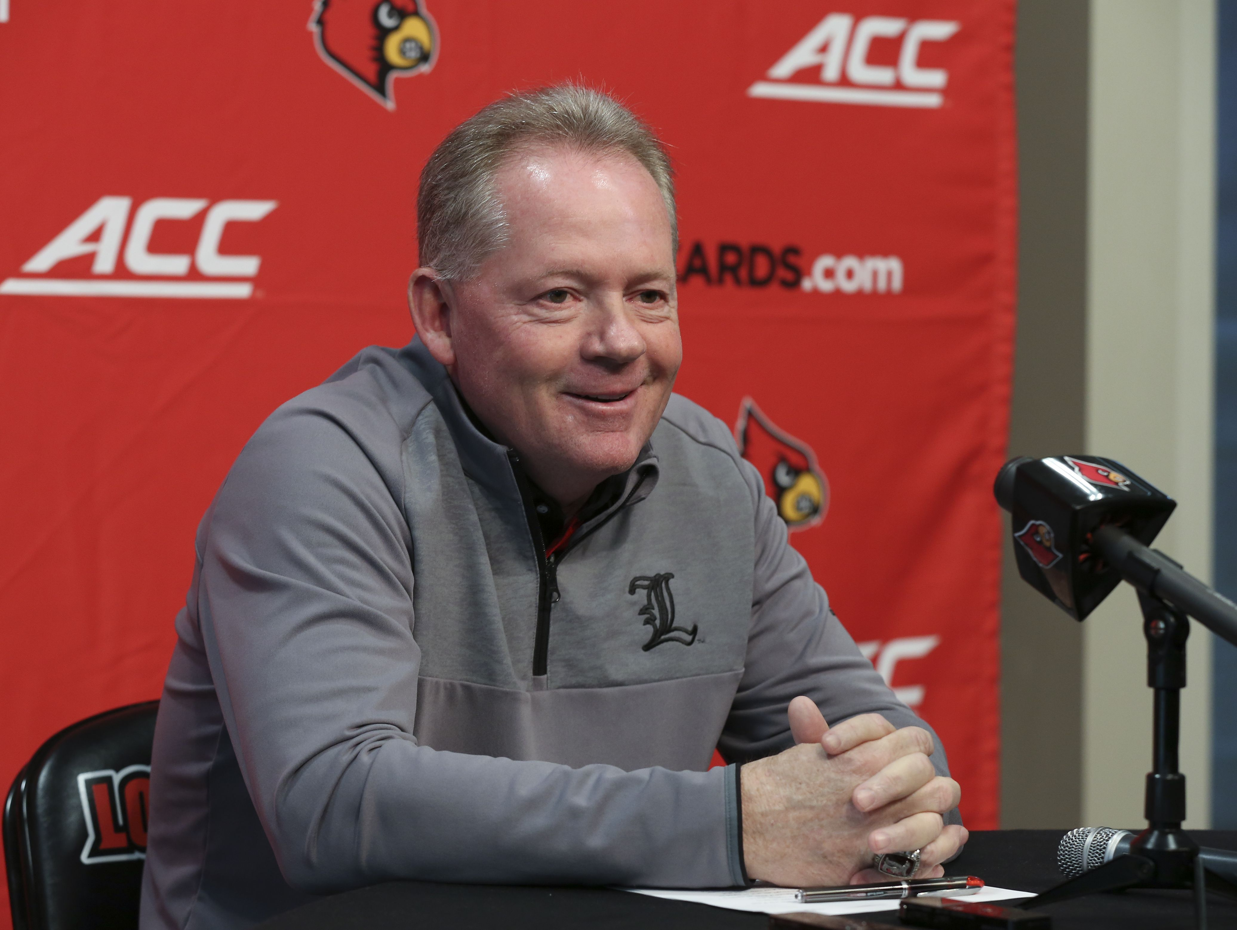 U of L head football coach Bobby Petrino speaks to the media on National Signing Day for 2017. Feb. 1, 2017