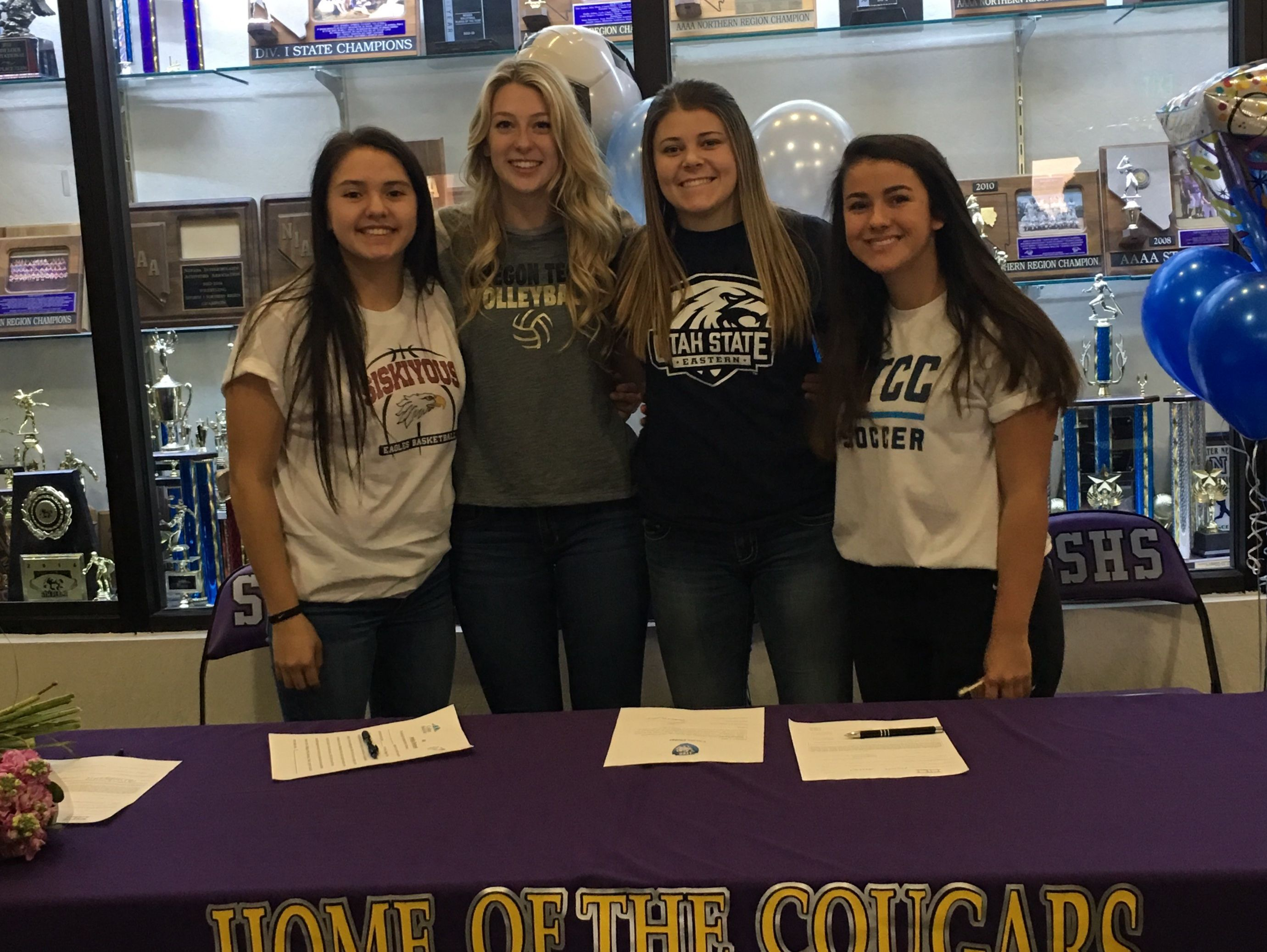 The Cougars had four students sign on Wednesday including Ireland Bennett (volleyball) Oregon Tech; Kalli Prendergast (soccer) Eastern Utah State; Anhelica Shanrock (basketball) College of the Siskiyous; and Madison Escolar (soccer) Lake Tahoe Community College.