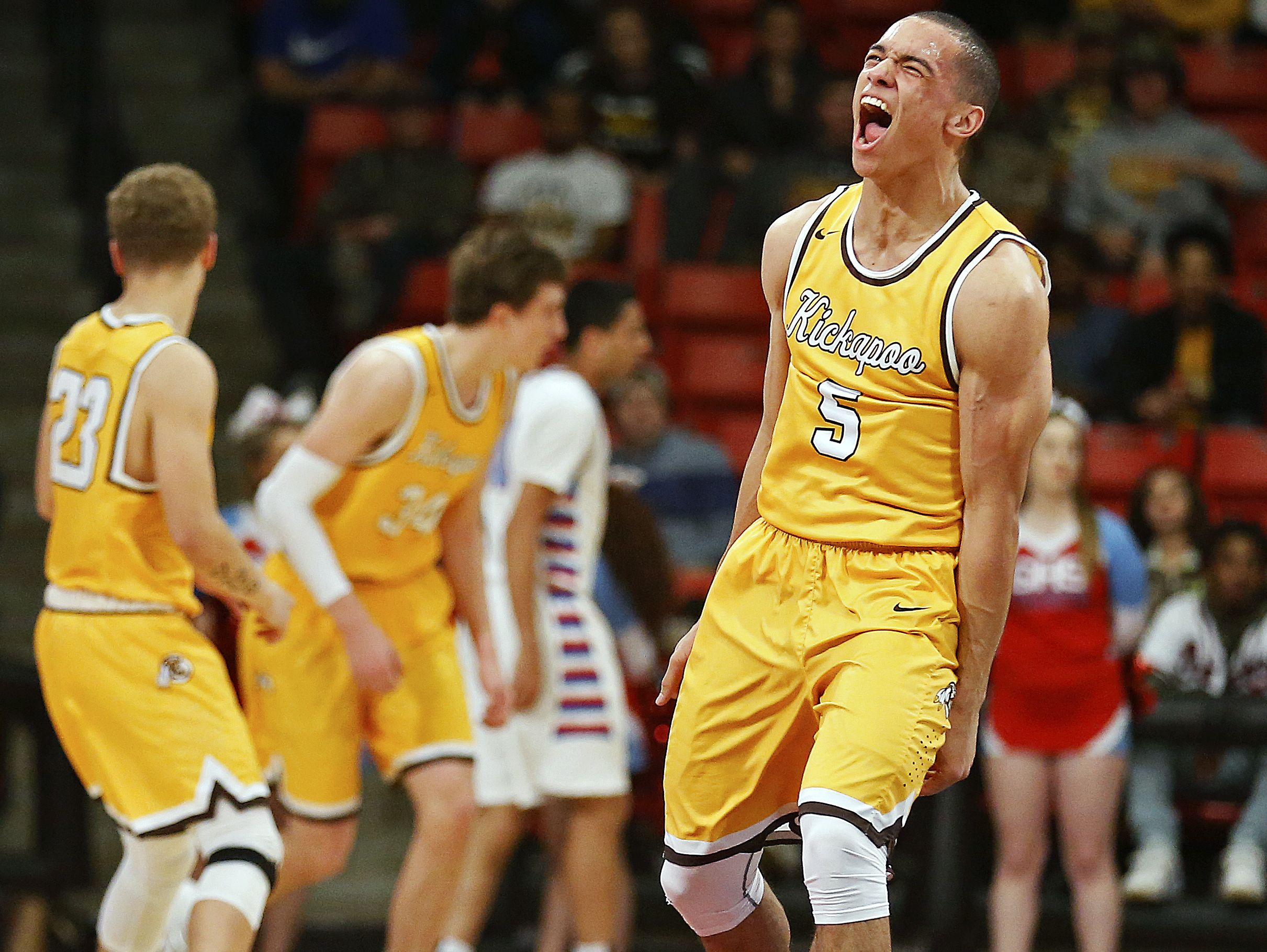Kickapoo Chiefs senior Cameron Davis (5) reacts to a Chiefs score during second quarter action of the high school basketball game between the Glendale High School Falcons and the Kickapoo High School Chiefs at O'Reilly Family Event Center in Springfield, Mo. on Feb. 7, 2017. The Kickapoo Chiefs won the game 96-77.
